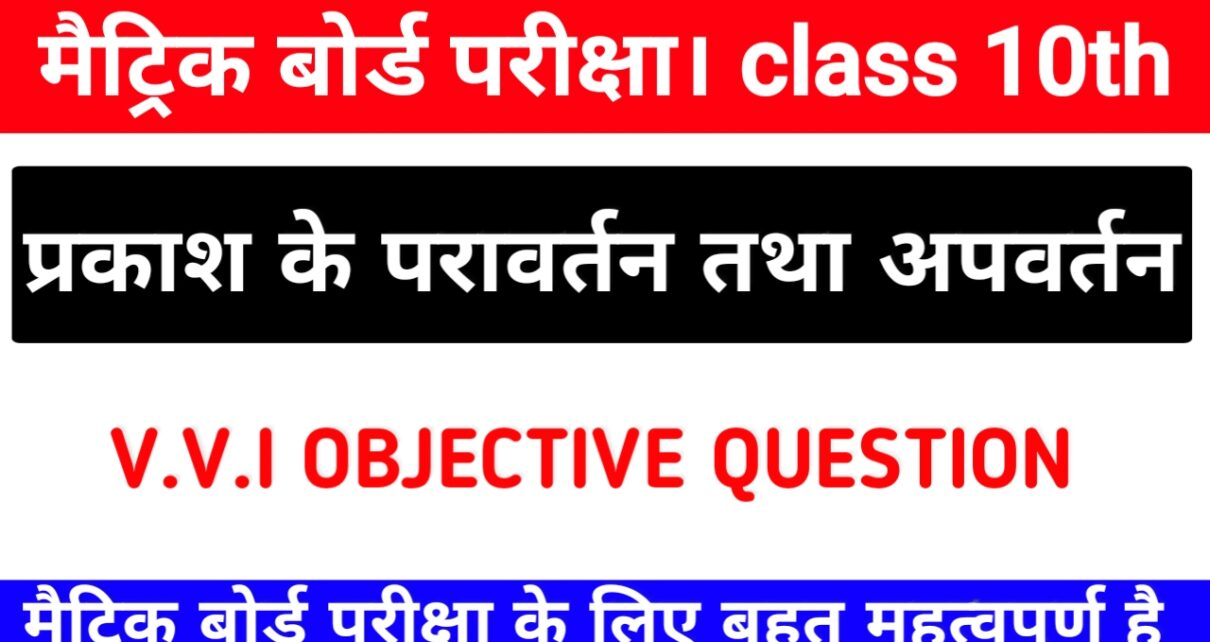 प्रकाश परावर्तन तथा अपवर्तन class 10th Science Objective Question